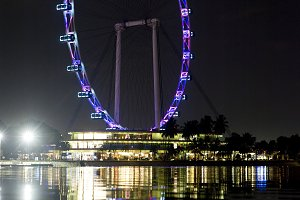 Singapore Flyer at night time