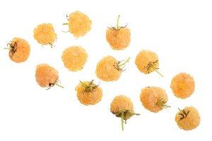 Yellow raspberries isolated on white