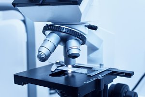 Close up of professional microscope