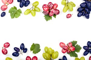 green pink and blue grapes with
