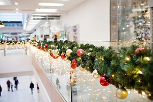An interior of decorated shopping