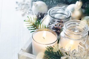 Burning candle and Christmas
