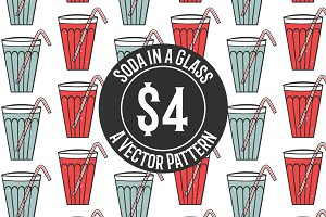 Soda in a Glass Vector Pattern