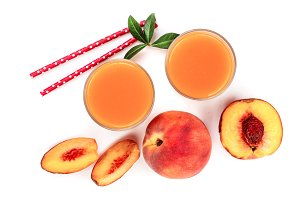 peach juice with leaves isolated on