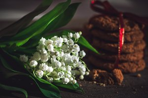 Oatmeal cookies and blooming flower