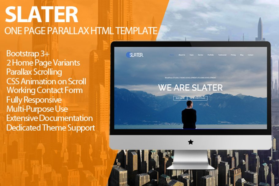 Slater - One Page Parallax HTML v1 3 ~ HTML/CSS Themes ~ Creative Market