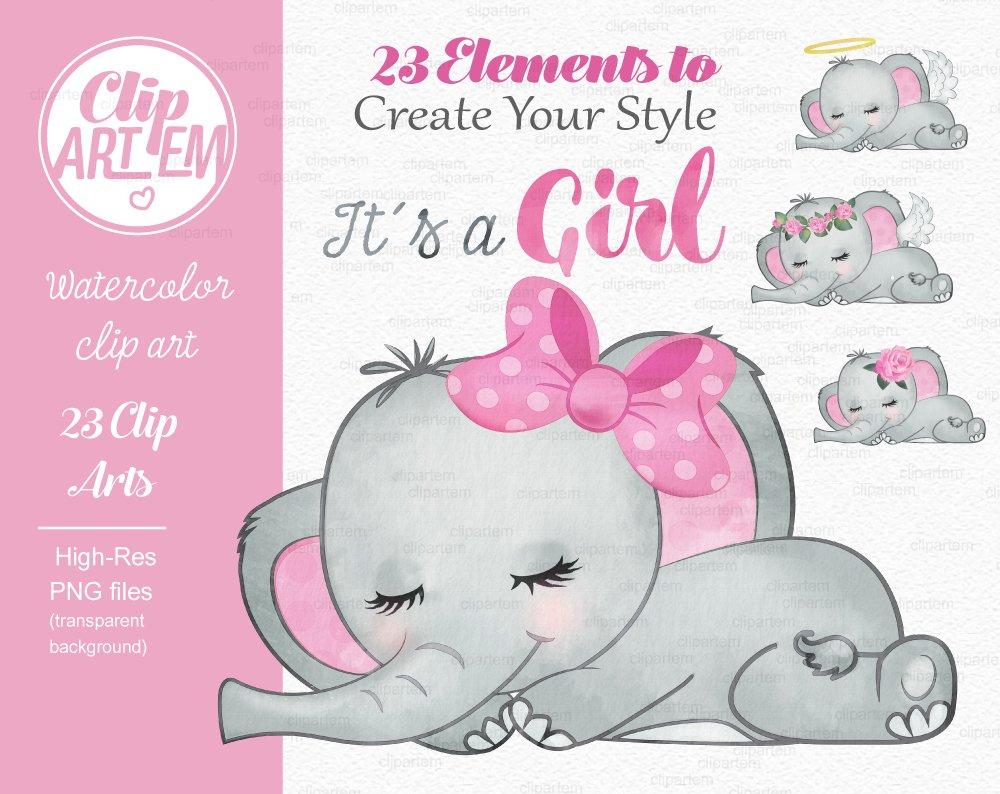 Girl pink gray elephant clipart ~ Illustrations ~ Creative ...