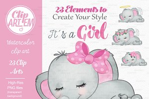 Girl pink gray elephant clipart