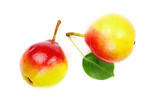 Two ripe red yellow pear fruits with
