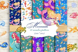 Mermaids Seamless patterns
