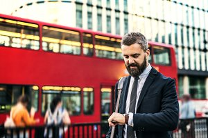 Hipster businessman waiting for the