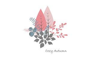 Autumn bouquet vector. Forest trees