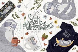 Sloth Adventures. Big graphic set.