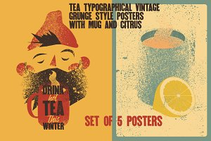 Tea typographical vintage poster.