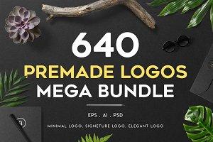 640 Premade Logos Mega Bundle