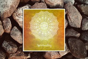 Spirituality. Decorative card.