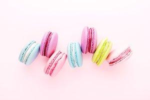 Colorful sweet macarons.