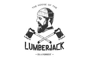 vintage badge with lumberjack