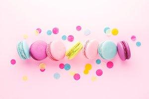 Colorful macarons & confetti