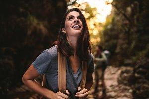 Beautiful woman enjoying hiking