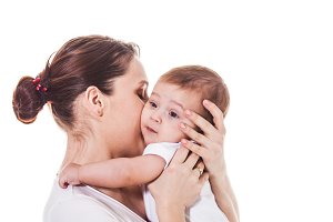 Adorable mother and baby isolated on