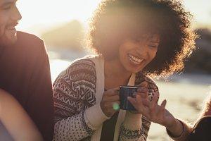 Cheerful friends at the beach
