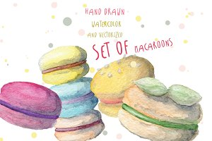 Watercolor macaroons set hand drawn.