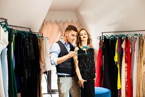 Young man and woman in a showroom