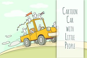 Cartoon car with little People