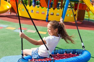 Various swings on the playground in