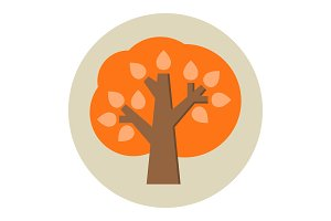 Autumn tree flat icon