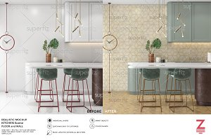 Floor&Wall Mockup Kitchen Scene SM35