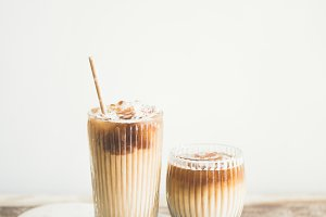 Iced coffee drink in tall glasses on