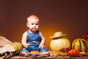 Thanksgiving holiday, cute baby with