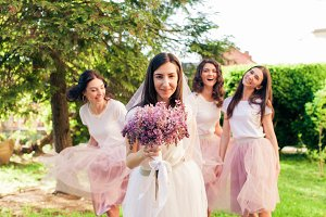 Celebration with bridesmaids in the