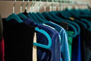 Clean and tidy clothing on hangers