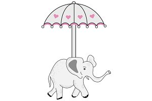 Elephant with Umbrella Illustration