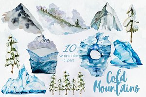 Watercolor Cold Mountains Set