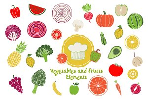 Vector Vegetables&Fruits Elements