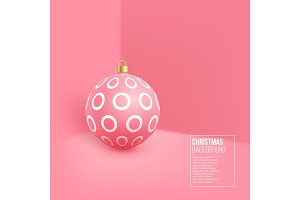 Christmas pink bauble with geometric
