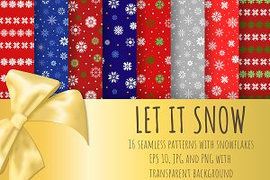 Let It Snow. 16 Seamless Patterns
