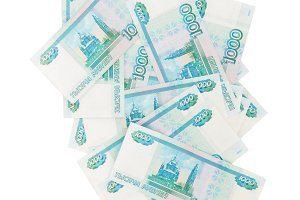 Background from banknotes of Russian