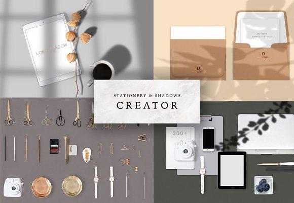 stationery shadows creator product mockups creative market