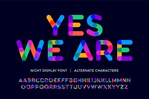 Colorful font. Colorful bright