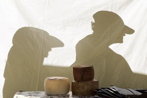 shadows of a couple with visors