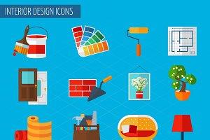 Interior design icons set