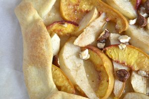 Homemade galette with peach