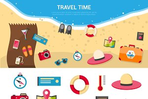 Summer vacation travel icons set