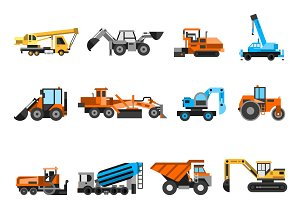 Construction machines icons set