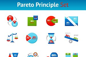 Powerful pareto principle icons set